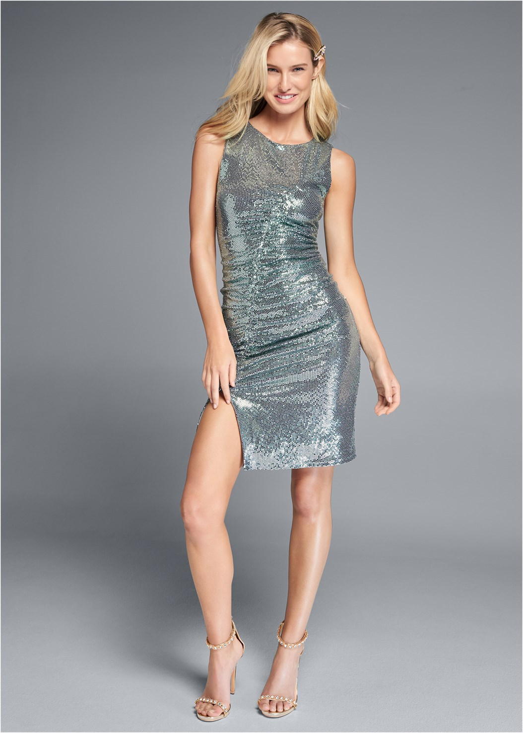 Ruched Sparkle Dress,Embellished Heels