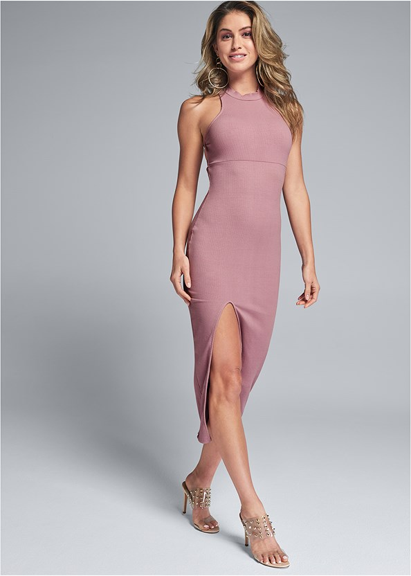 Ribbed Front Slit Dress,Embellished Lucite Heel