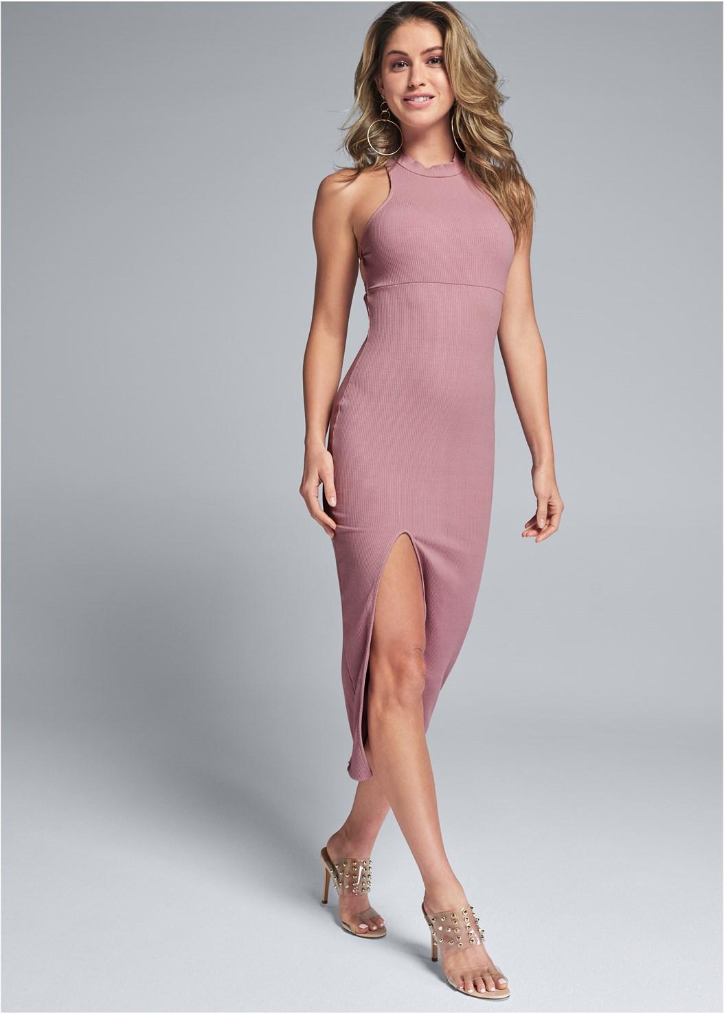 Ribbed Front Slit Dress,Embellished Lucite Heel