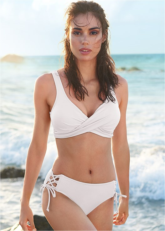 LOVELY LIFT WRAP BIKINI TOP,LATTICE SIDE BIKINI BOTTOM