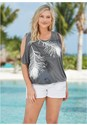 Front view Feather Cold Shoulder Tee
