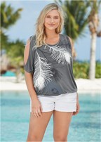 plus size feather cold shoulder tee