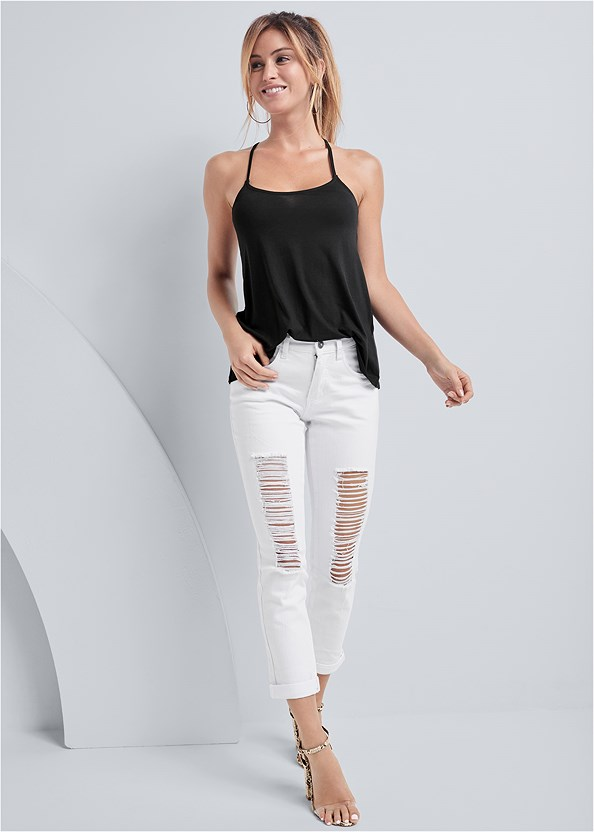 Ripped Jeans,Back Detail Top,Lucite Detail Print Heels