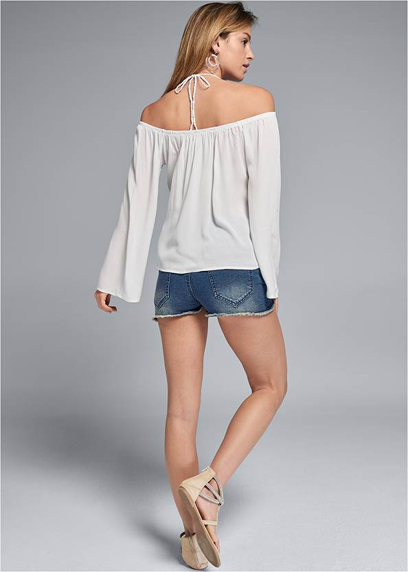 Back View Lace Detail Bell Sleeve Top