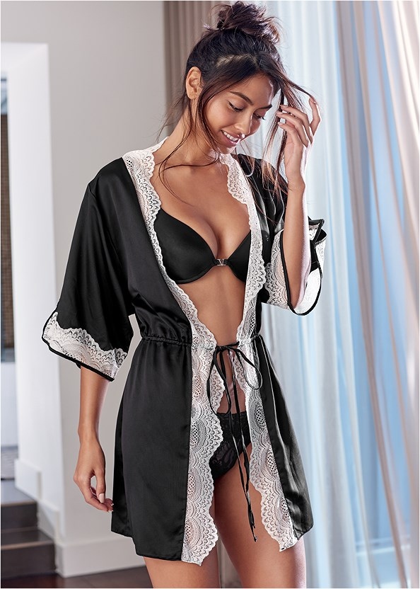 Lace Detail Kimono,Push Up Bra Buy 2 For $40
