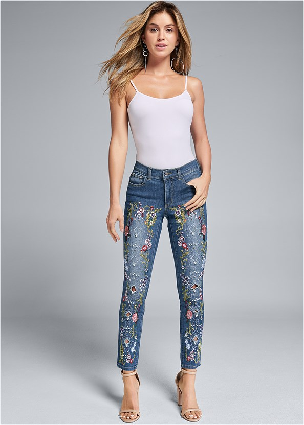 Embellished Jeans,Basic Cami Two Pack,High Heel Strappy Sandals,Hoop Earrings
