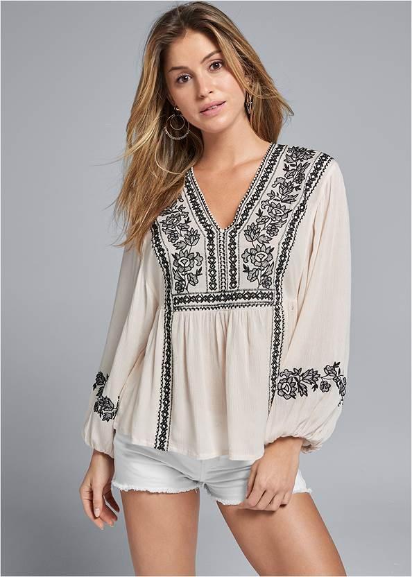 Front View Embroidered Peasant Top