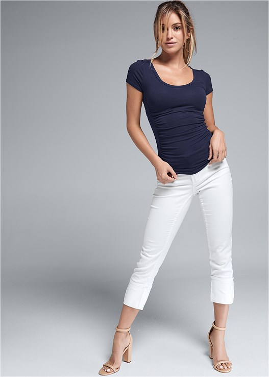 DEEP CUFF JEANS,RUCHED DETAIL TOP