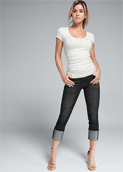 Cropped Cuff Jeans