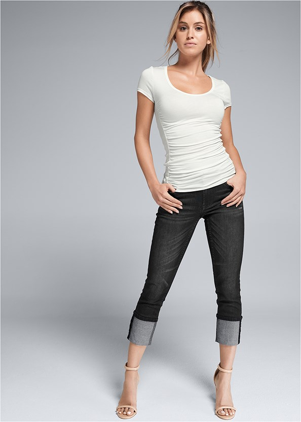Deep Cuff Jeans,Ruched Detail Top,Block Heels,Peep Toe Print Heels,Over The Knee Mini Tie Boot