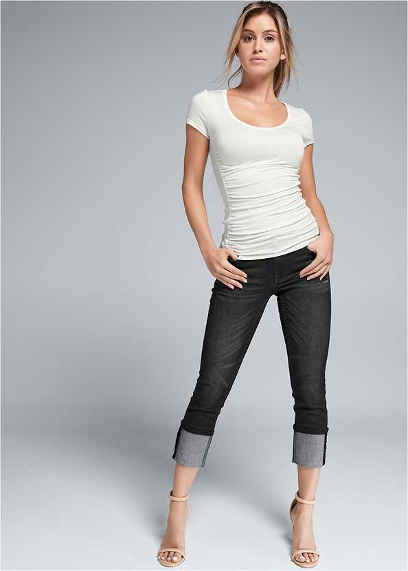 Cropped Cuff Jeans,Ruched Detail Top,Peep Toe Print Heels,Over The Knee Mini Tie Boot