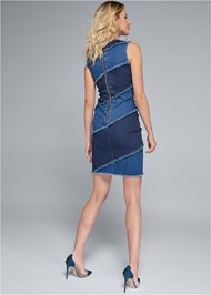Full back view Two Toned Denim Dress