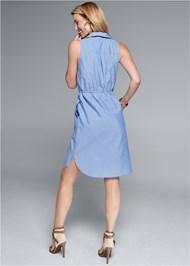 Back View Sleeveless Collared Dress