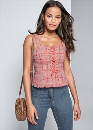 Cropped Front View Lace Up Tweed Top