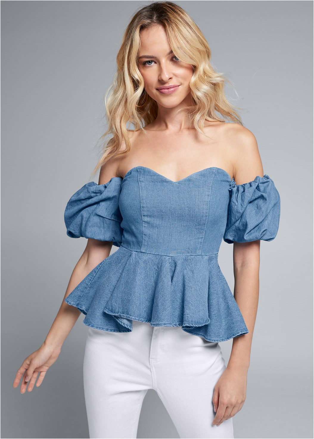 Puff Sleeve Chambray Top,Everyday You Strapless Bra,Flower Detail Heels
