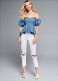 Front View Puff Sleeve Chambray Top