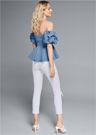 Back View Puff Sleeve Chambray Top