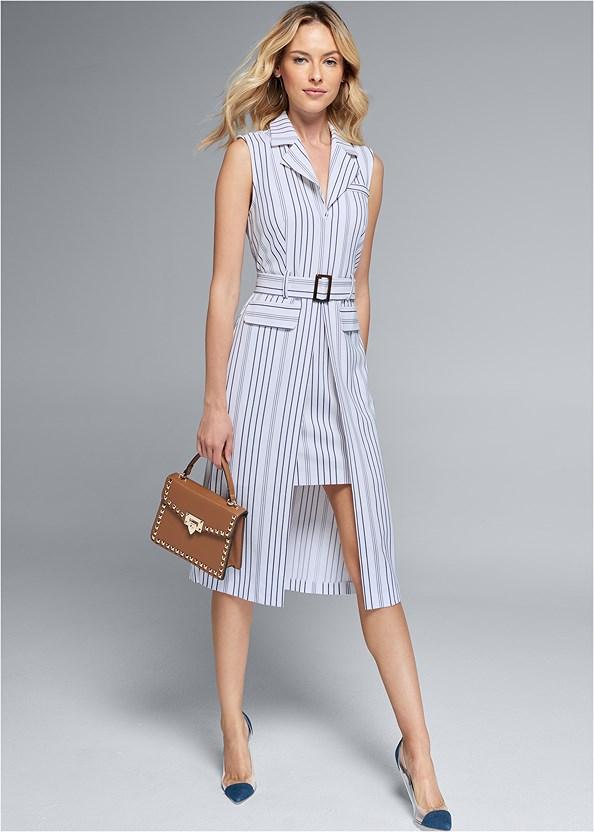 Collared Shirt Dress,Lucite Detail Heels,Stud Detail Handbag