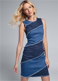 Cropped front view Two Toned Denim Dress