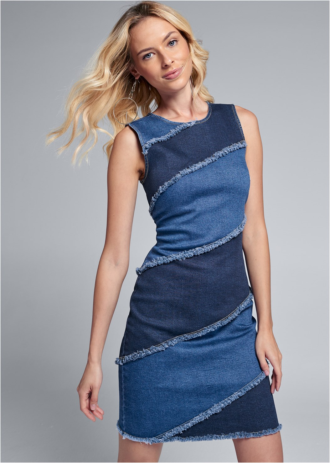 Two Toned Denim Dress,Lucite Detail Heels,Color Block Hoop Earrings