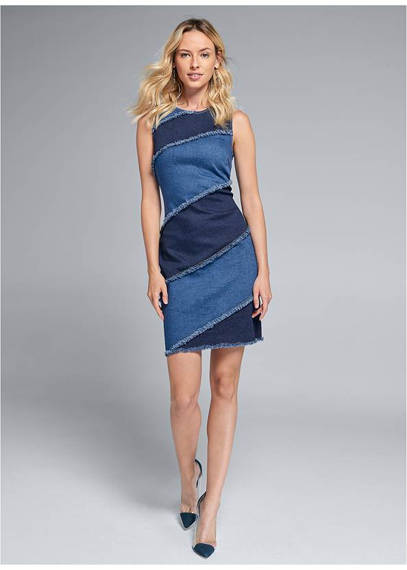 Full front view Two Toned Denim Dress