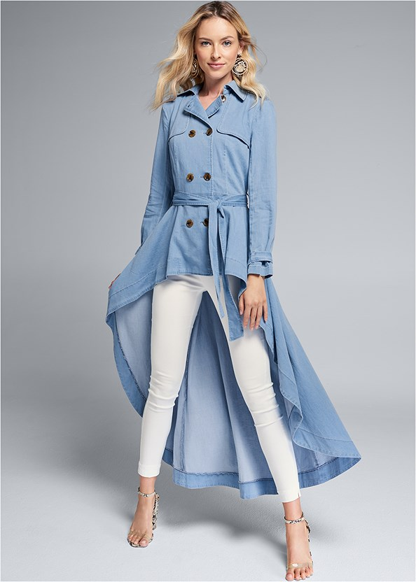 Denim Trench Coat,Mid Rise Slimming Stretch Jeggings,Naked T-Shirt Bra,Lucite Detail Print Heels
