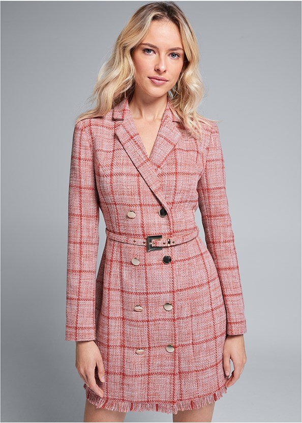 Tweed Coat Dress,Embellished Lucite Heel,Beaded Crossbody