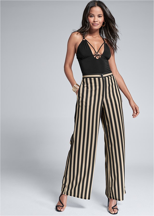 High Waisted Stripe Pant,Strappy Detail Top,Lace Thong 3 For $19,High Heel Strappy Sandals,Asymmetrical Strappy Heels
