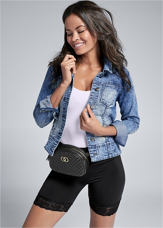 LACE TRIM BIKE SHORTS,JEAN JACKET,SEAMLESS CAMI,QUILTED BELT BAG