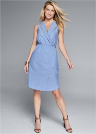 Front View Sleeveless Collared Dress