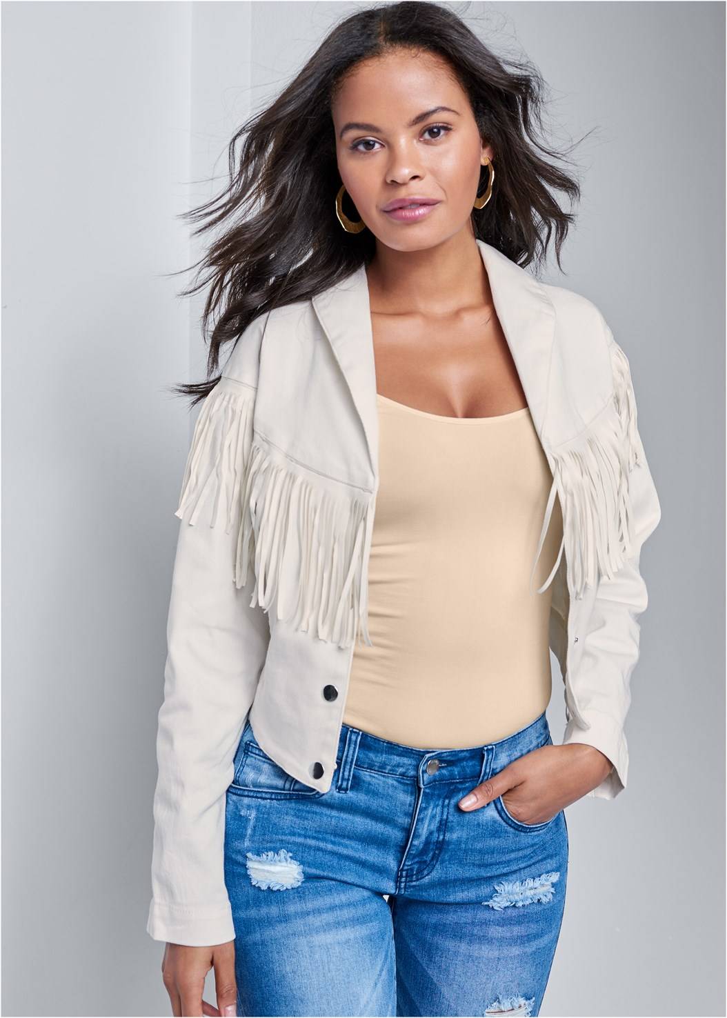Fringe Detail Denim Jacket,Triangle Hem Jeans,Embellished Wedges,Color Block Mules,Hammered Metal Earrings
