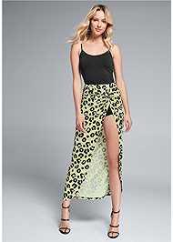 Waist down front view Leopard Print Skirt