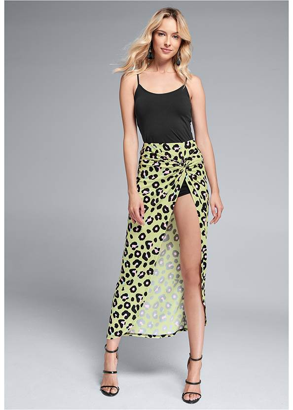 Leopard Print Skirt,Basic Cami Two Pack,High Heel Strappy Sandals