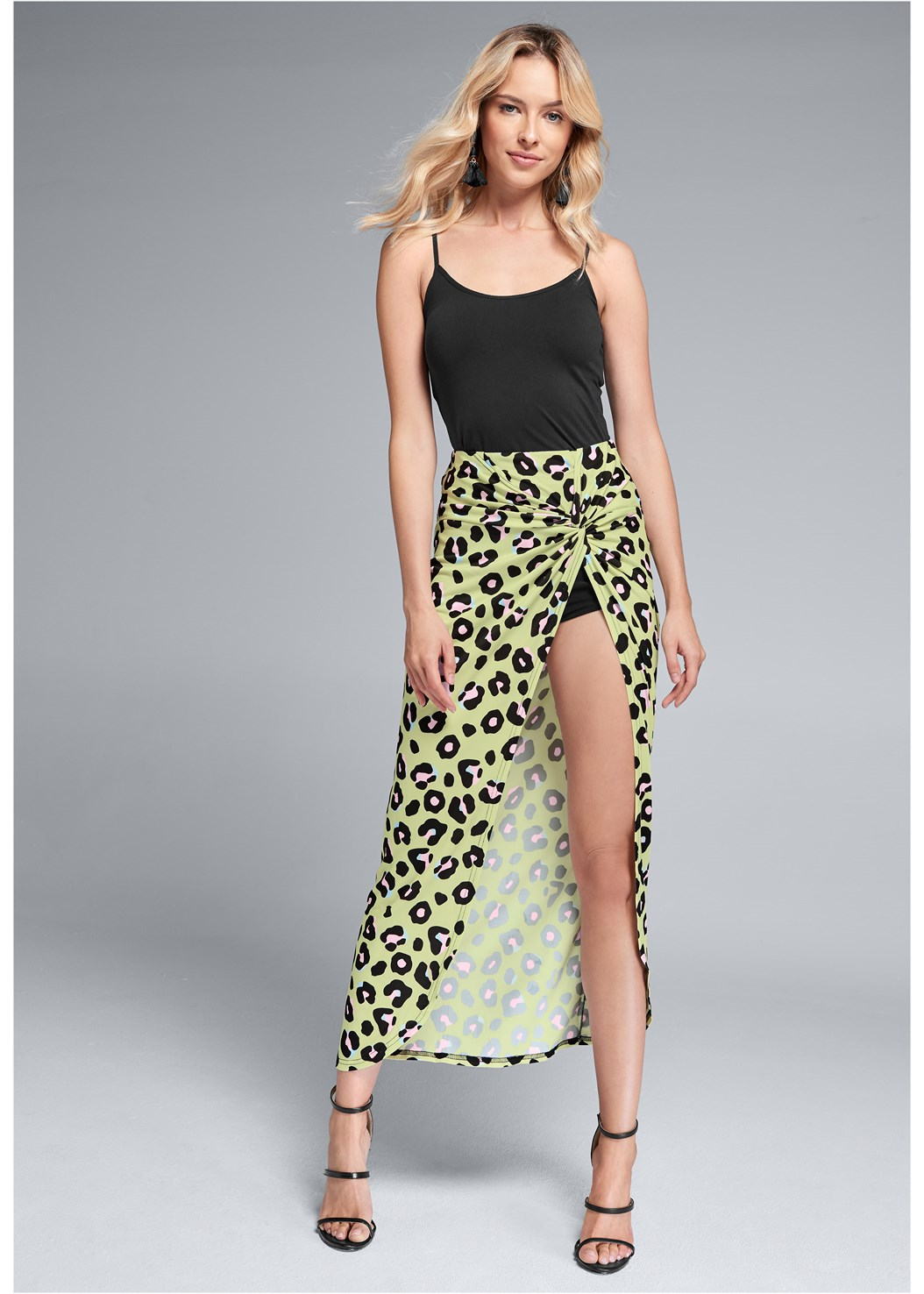 Leopard Print Skirt,Seamless Cami,Studded Strappy Heels,High Heel Strappy Sandals,Bauble Fringe Earrings
