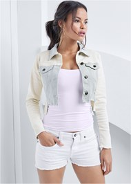 Cropped front view Two-Toned Denim Jacket