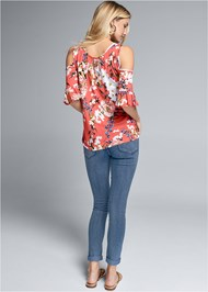 Back View Printed Cold Shoulder Top