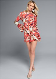 Alternate View Twist Back Floral Romper