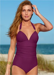 Alternate View Slimming Halter One-Piece