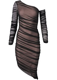 Alternate View Mesh Ruched Midi Dress