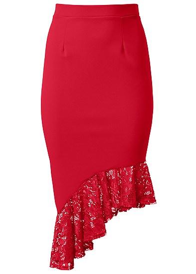 Plus Size Lace Trim Midi Skirt