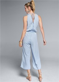 Full back view Chambray Culotte Jumpsuit
