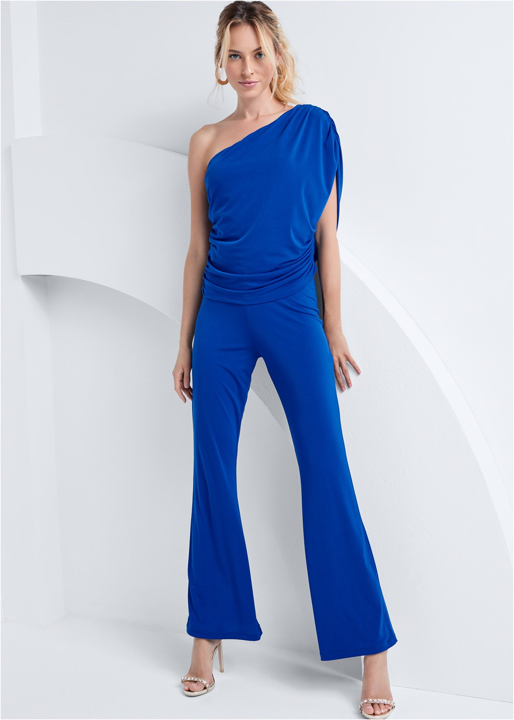 One Shoulder Jumpsuit,Embellished Heels