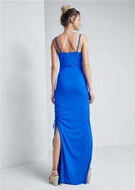 Full back view Square Neck Maxi Dress