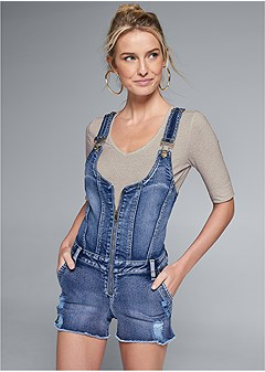 zip front denim overalls