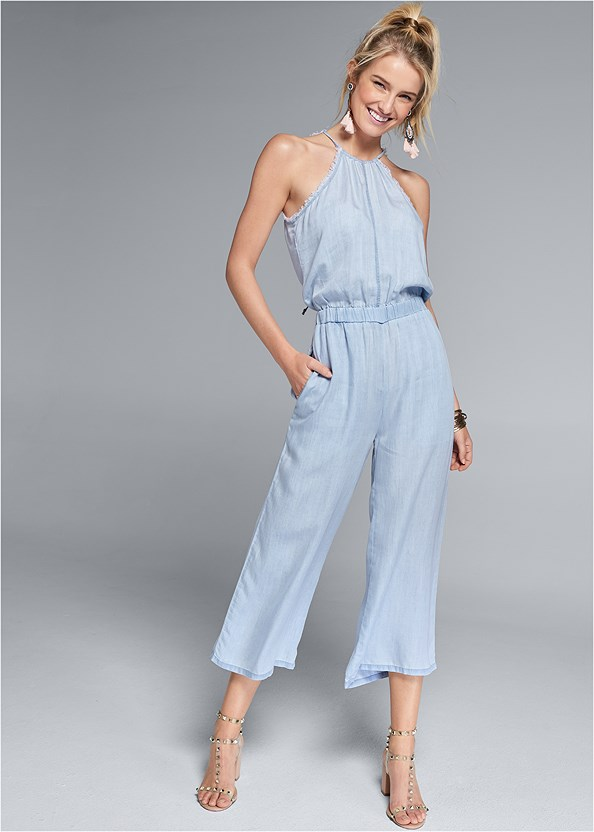 Chambray Culotte Jumpsuit,Transparent Studded Heels