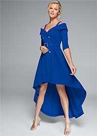 Full front view Cold Shoulder Coat Dress
