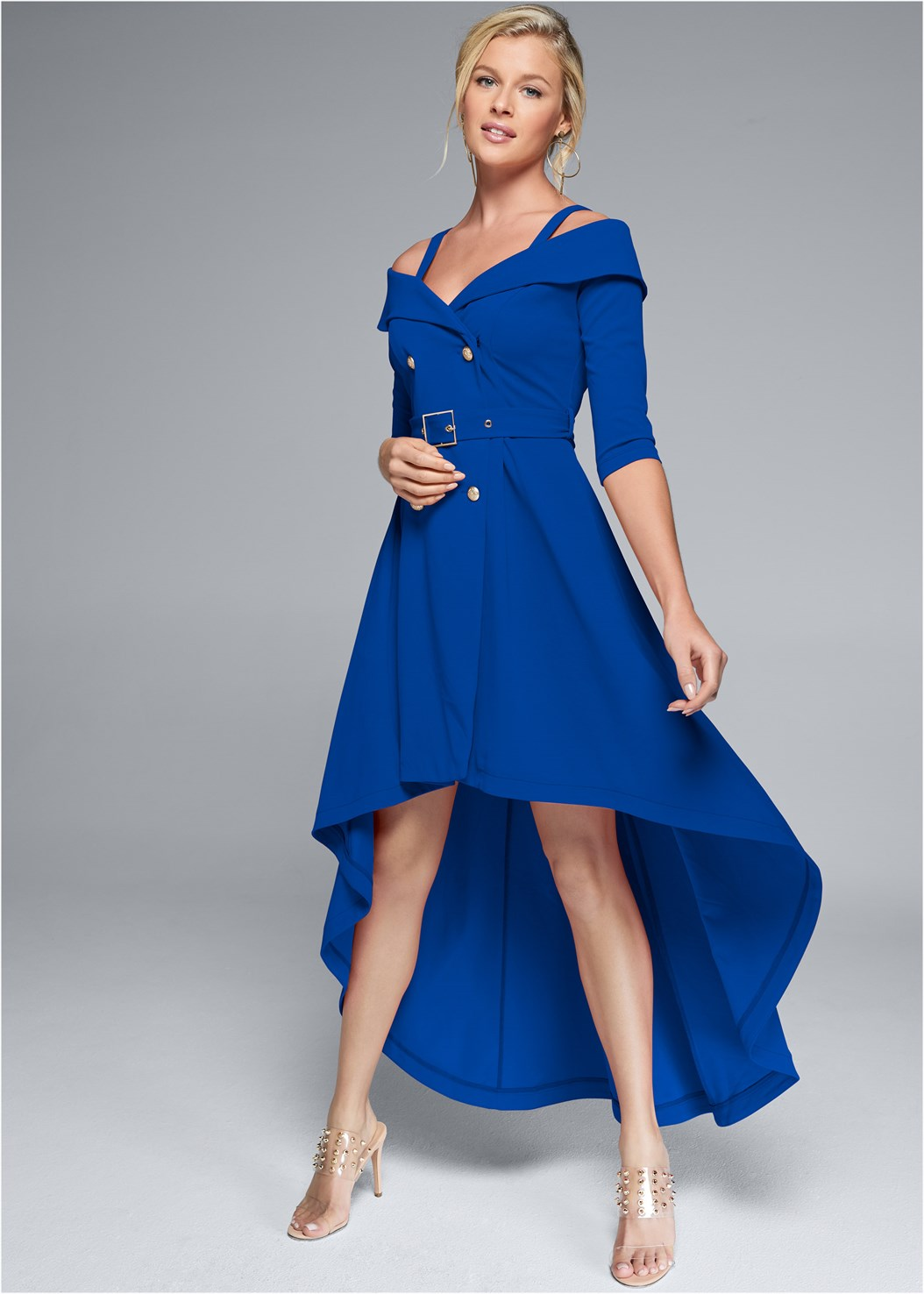 Cold Shoulder Coat Dress,Embellished Lucite Heel