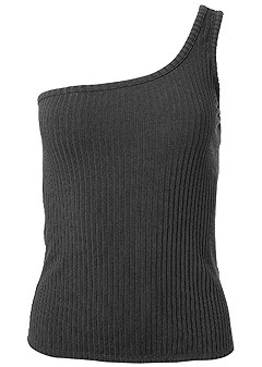plus size ribbed one shoulder top