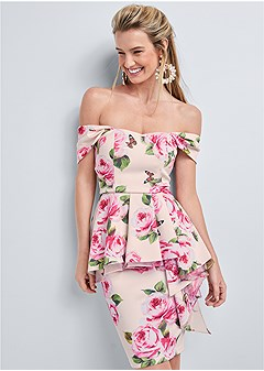 ruffle peplum dress