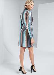 Full back view Sequin Wrap Dress